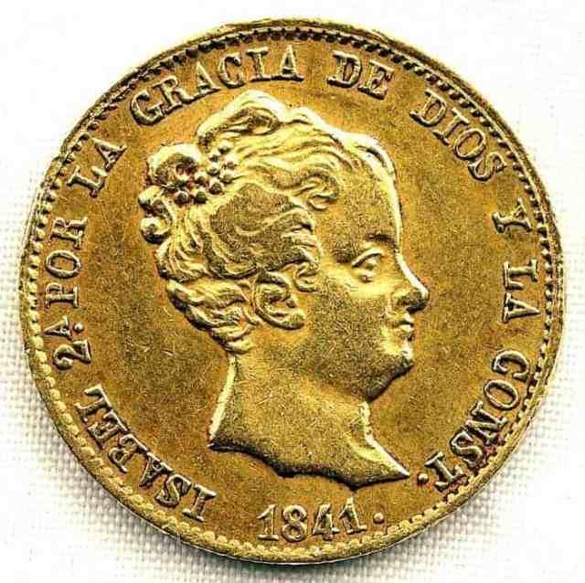 80 Reales Barcelona Isabel II 1841 Reverso