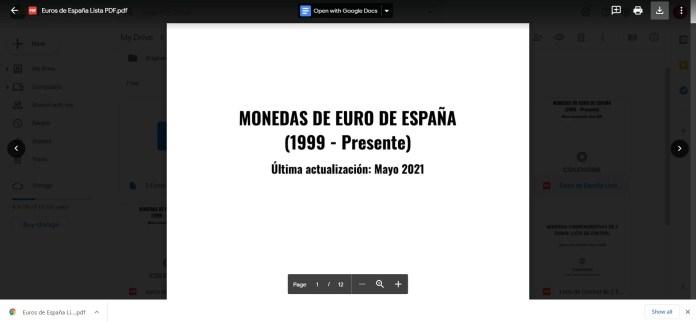 Lista en PDF Monedas de Euro de España Descargada