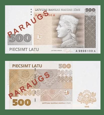 Letonia 500 Lats 1992 Billete con Milda