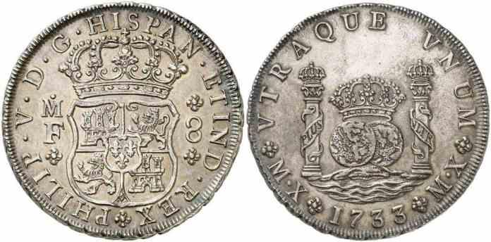 8 reales columnarios 1733 ceca méxico