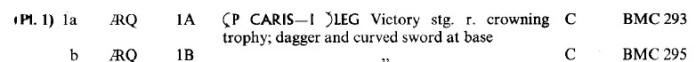 Descripción de una moneda romana en el RIC