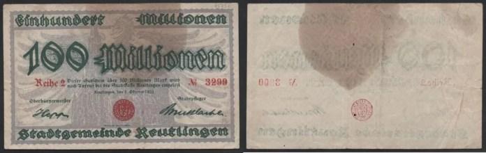 Notgeld Billete 100 Millones de Marcos Reutlingen 1923