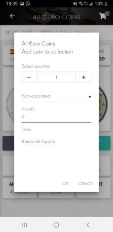 Pantalla Introducción Datos All Euro Coins