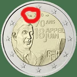 Marca de Ceca en 2 Euros Conmemorativos Francia 2010