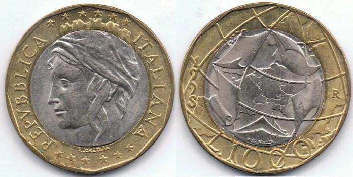1000 Liras Italianas 1998
