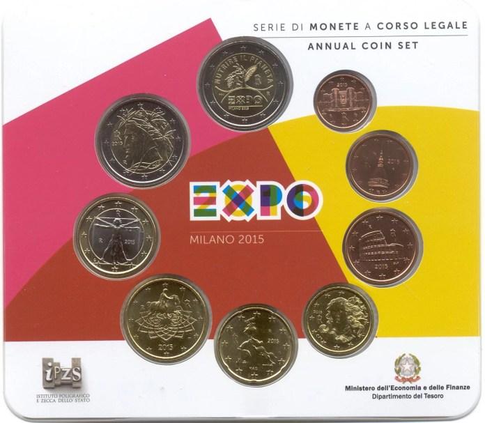 Cartera Anual Moneda Conmemorativa de 2 Euros de Italia 2015 - Expo 2015 en Milán