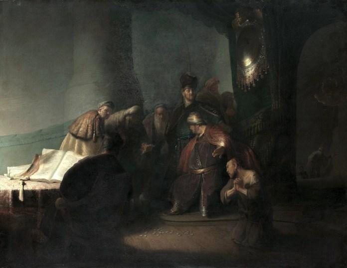 Judas arrepentido, devolviendo las 30 piezas de plata, de Rembrandt