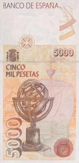5000 Pesetas 1992 Reverso