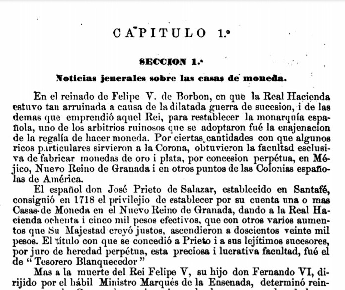 Capitulo 1 Memoria sobre amonedacion de oro i plata en la Nueva Granada