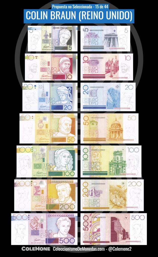 Diseño Perdedor Billete Euro 15 Braun