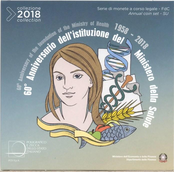 Cartera Anual Moneda Conmemorativa de 2 Euros de Italia 2018 - 60 Años del Ministerio de la Salud de Italia