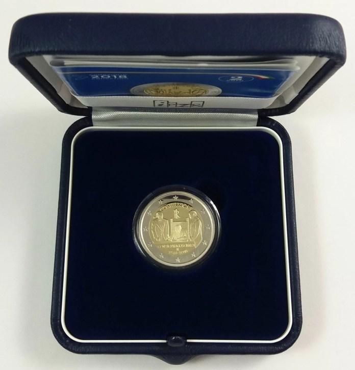 Estuche Individual Proof Moneda Conmemorativa de 2 Euros de Italia 2018 - 70 Años de la Constitución Italiana