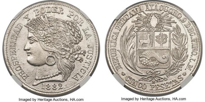 5 Pesetas Perú 1882 Ayacucho