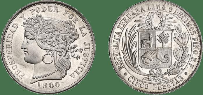 5 pesetas 1880 Perú