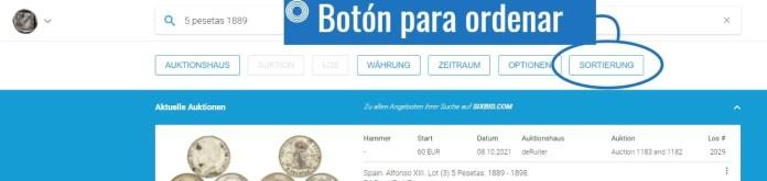 Valor de una Moneda Antigua en Sixbid Paso 2