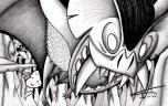 """Caoera é uma espécie de """"morcegão"""" do porte de um urubu, que pode sugar todo o sangue de uma pessoa sem que ela desperte e em seguida devorá-la. É uma lenda dos índios Mura."""