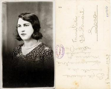 """Femeie. Verso: 1 maiu 1932 Spre aducere aminte de la a dumneavoastră verișoară și nepoată Lilica. Familiei St. Panait Loco. Ștampilă violet """"C. Axinte Fotograf SLOBOZIA"""""""