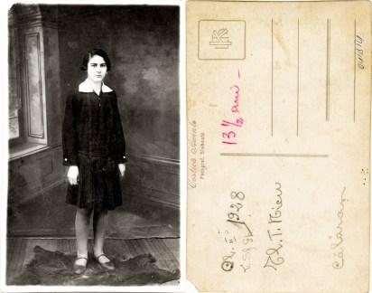 """Femeie. Verso: Cl. II 1928, L. Sf. Gh. El. T. Nicu Călărași 13 1/2 ani. Ștampilă violet """"Costică Axinte Fotograf, Slobozia"""""""