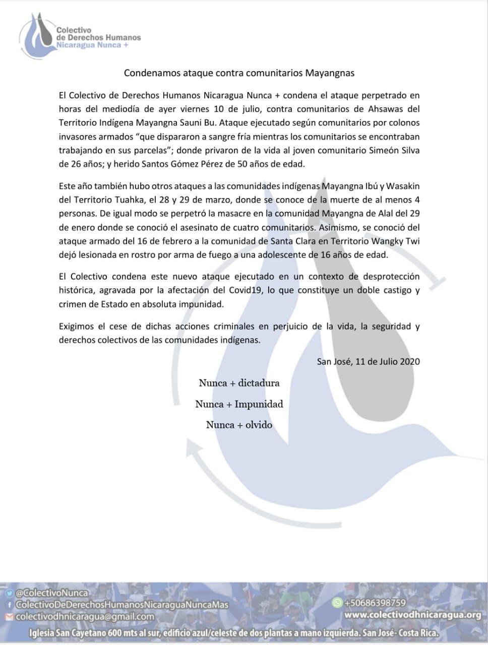 Condena el ataque contra mayangnas