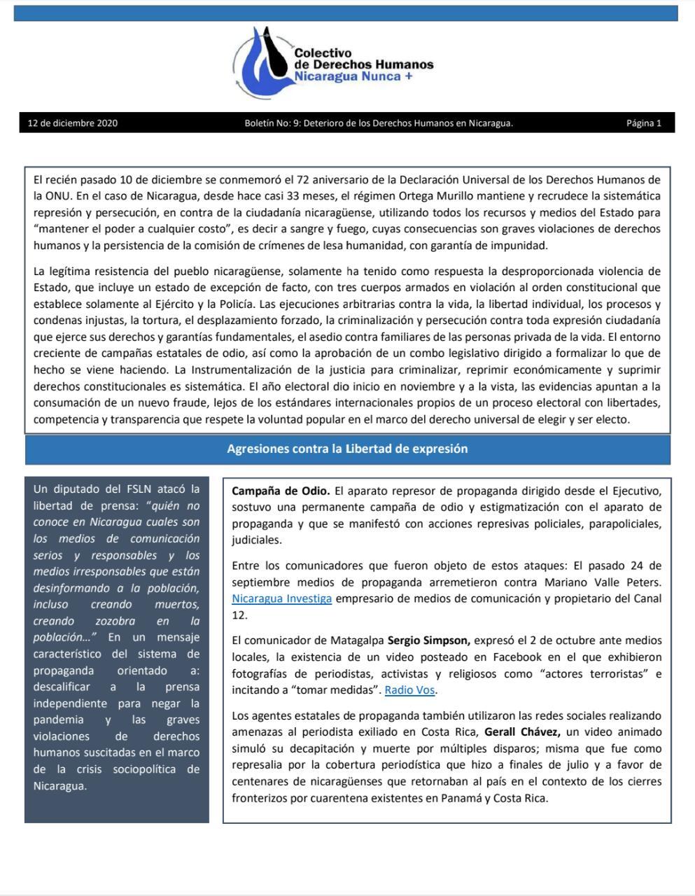 Portada Boletín No: 9: Deterioro de los Derechos Humanos en Nicaragua.