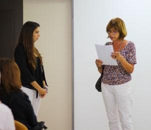 Junto a la Dra. Ma. Inés Laje, una de las integrantes del tribunal evaluador