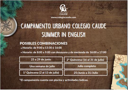 Summer in english, Colegio Caude