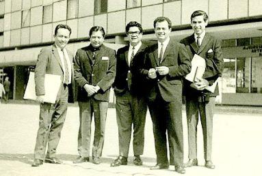 Compositores en el festival 1967, Mexico: Valcárcel- Enriquez – La Rosa – Novello – Lanza [Foto: alcides lanza]
