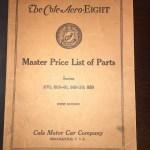 1919 Cole Motor Company Parts Guide