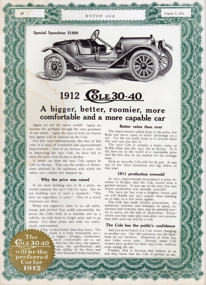 1912 Cole 30-40 Speedster