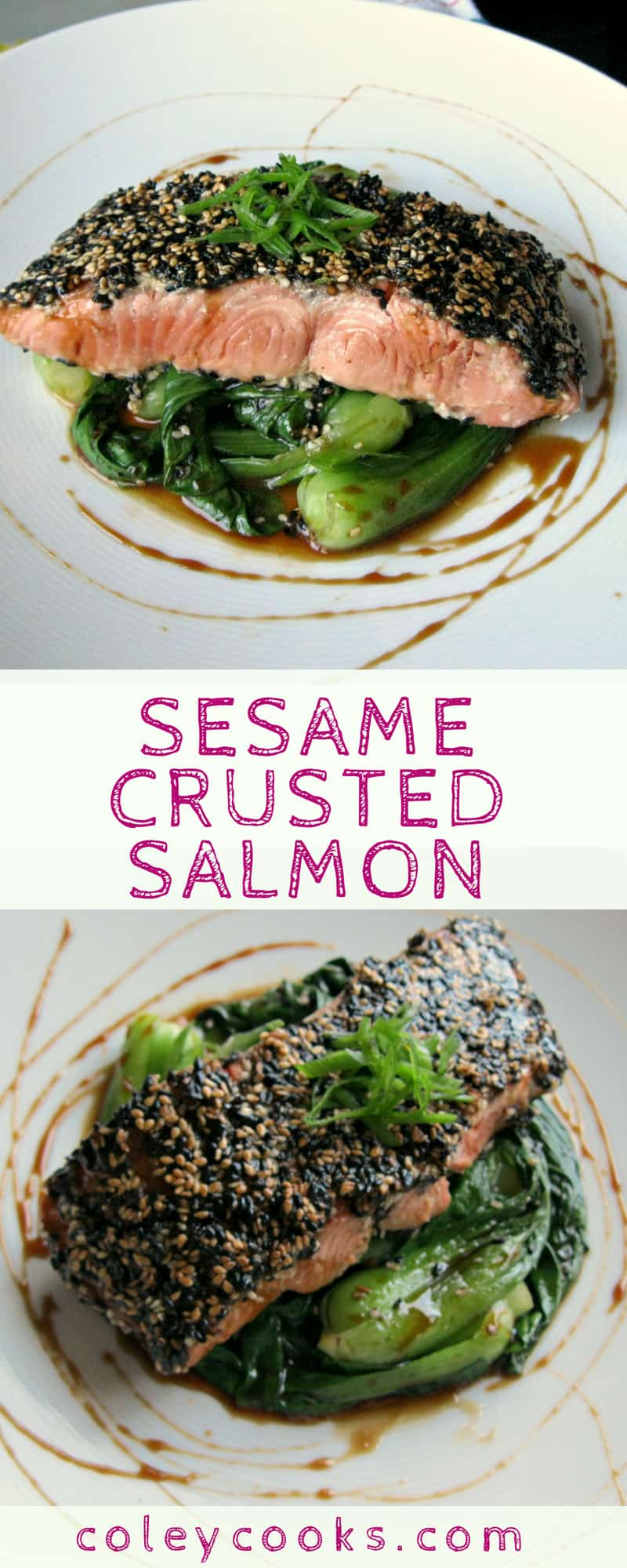 SESAME CRUSTED SALMON | Light and flavorful easy Asian salmon recipe with sweet soy glaze! #easy #salmon #recipe #seafood #fish | ColeyCooks.com