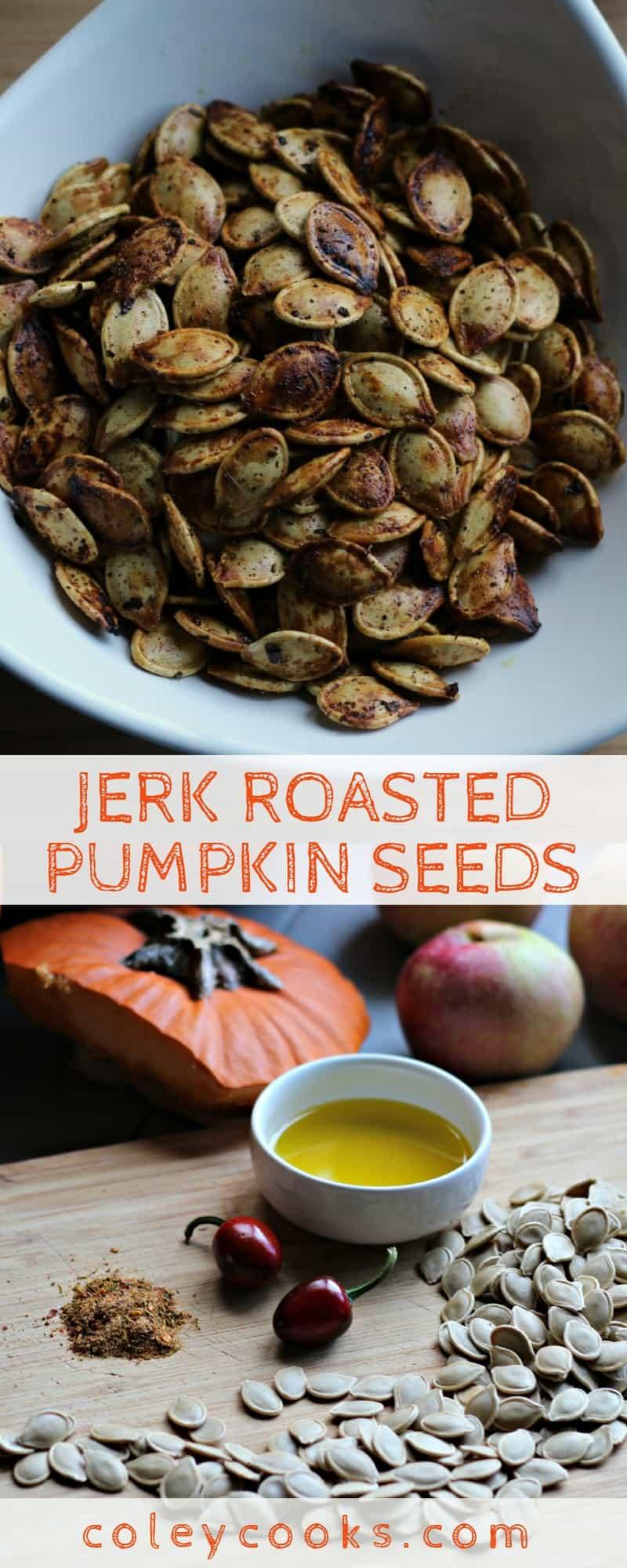JERK ROASTED PUMPKIN SEEDS | This spicy recipe for Jamaican jerk roasted pumpkin seeds is perfect for Halloween! #pumpkin #pumpkinseeds #halloween #pumpkincarving #recipe #method #technique #jerk #Jamaican | ColeyCooks.com