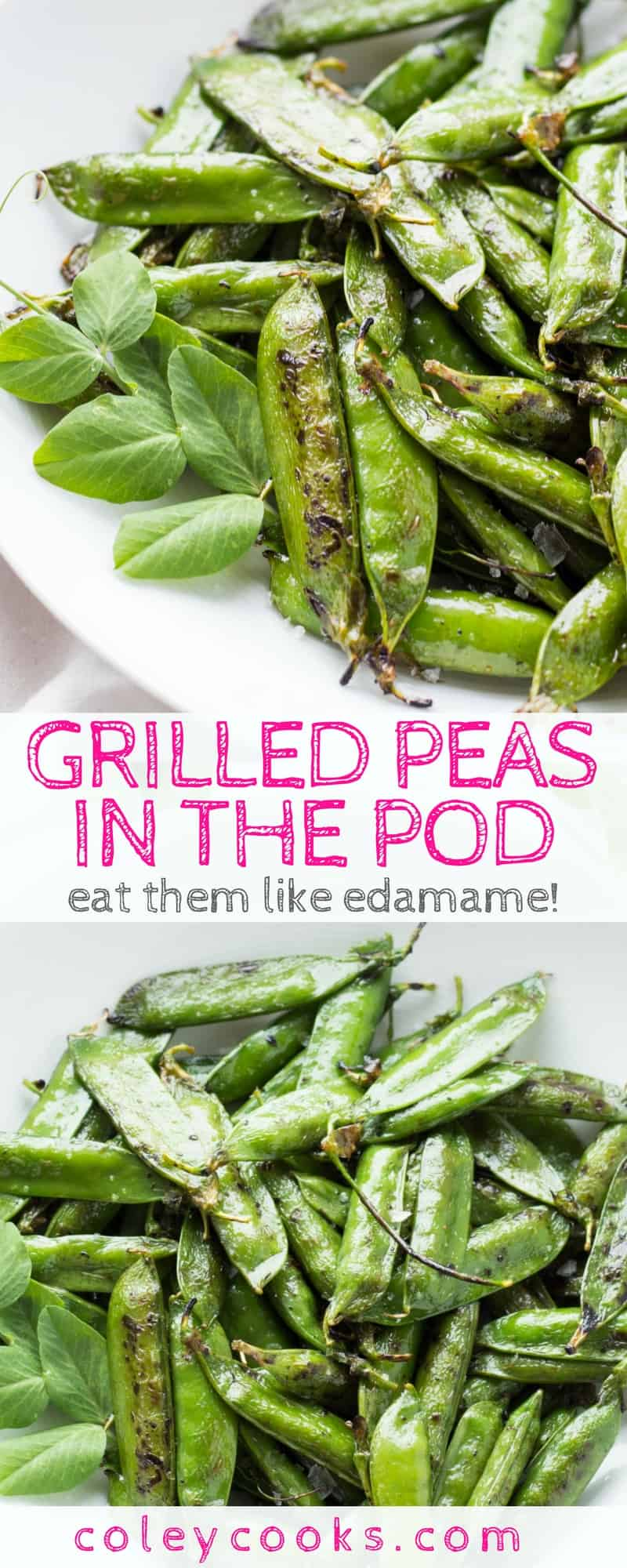 GRILLED PEAS IN THE POD | Easiest ever recipe for salted grilled peas in the pod. Eat them like edamame for a sweet, healthy, delicious snack! The best healthy snack recipe. Healthy snacking ideas! #glutenfree #vegan | ColeyCooks.com
