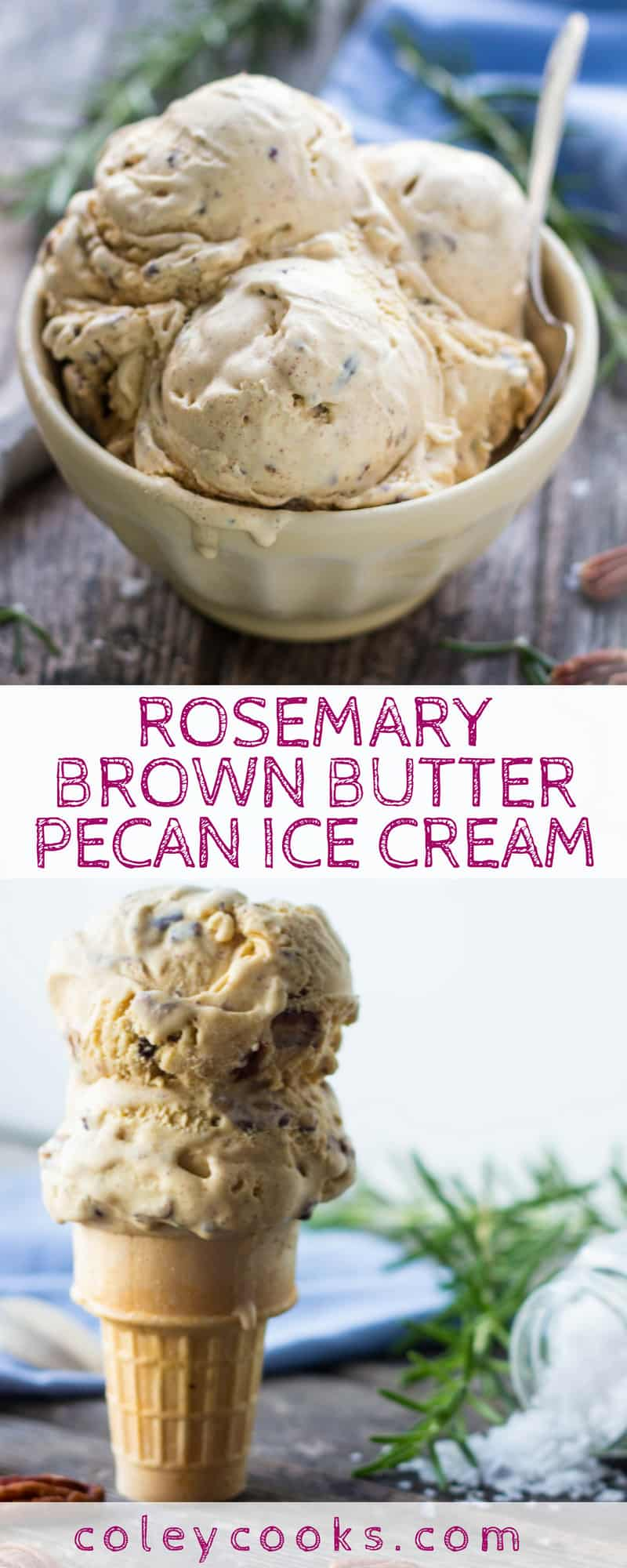 This recipe for Rosemary Brown Butter Pecan Ice Cream is an over the top play on traditional butter pecan ice cream. Rich, buttery, and loaded with salty pecans. #icecream #recipe #butterpecan #brownbutter | ColeyCooks.com