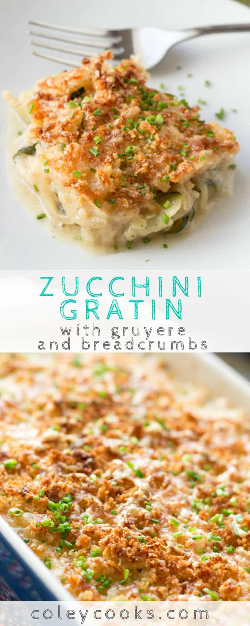 ZUCCHINI GRATIN | Ina Garten's recipe for Zucchini Gratin is so delicious! With gruyere, onions, a creamy sauce and crispy breadcrumbs #easy #zucchini #recipe #squash #barefootcontessa | ColeyCooks.com