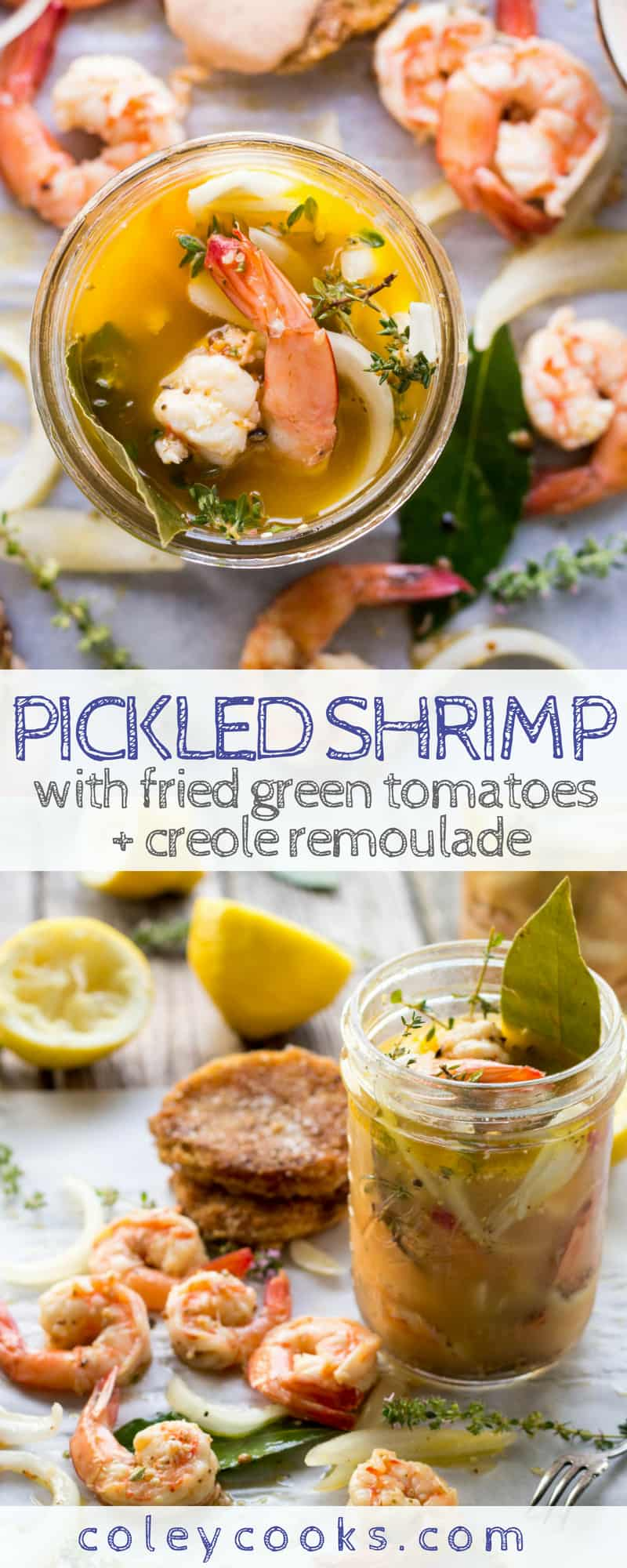 PICKLED SHRIMP with FRIED GREEN TOMATOES + CREOLE REMOULADE | Easy shrimp appetizer recipe! Tangy quick pickled shrimp with classic fried green tomatoes and creamy remoulade. #appetizer #recipe #shrimp #pickled #southern #summer #creole | ColeyCooks.com