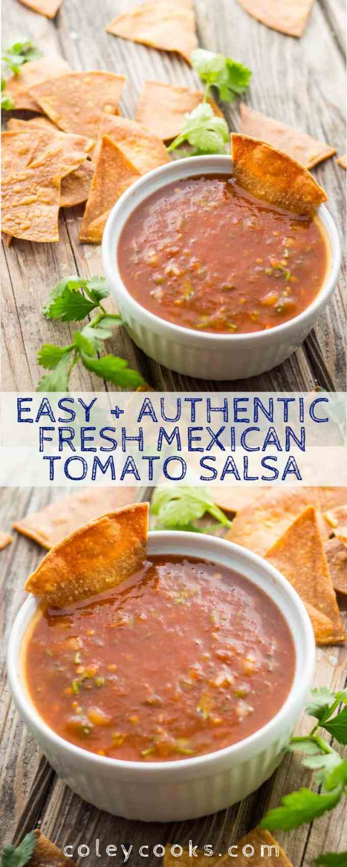 This easy recipe for Mexican Tomato Salsa is an authentic, spicy and flavorful dip for chips or a sauce for your favorite Mexican dish. Great for Cinco de Mayo! #cinco #Mexican #easy #authentic #tomato #spicy #salsa #recipe #chips #dip #snacks   ColeyCooks.com