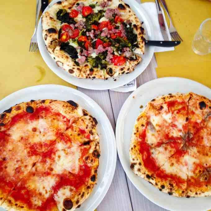 Pizzas in Torino, Italy