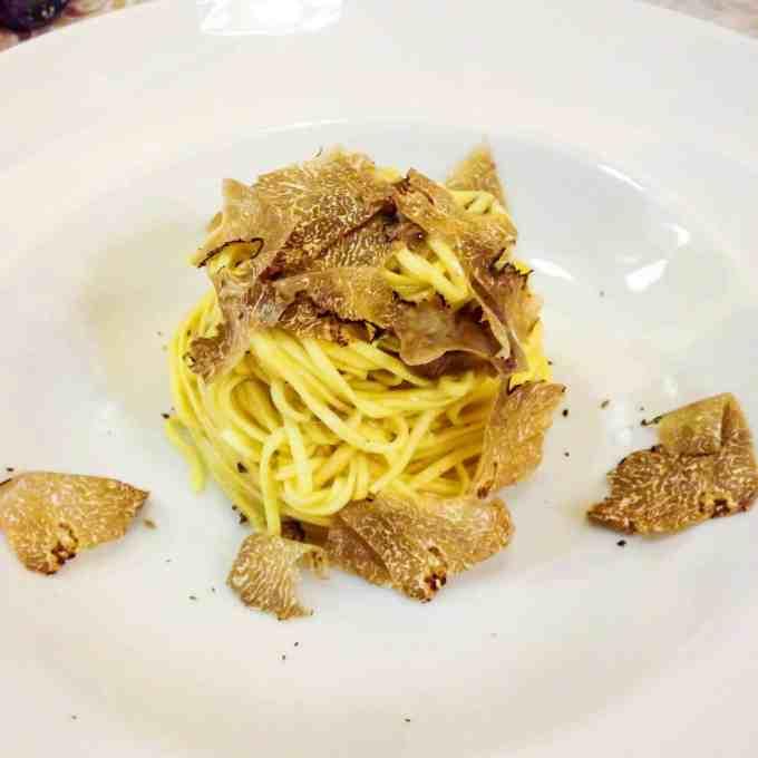 truffle pasta in torino, italy