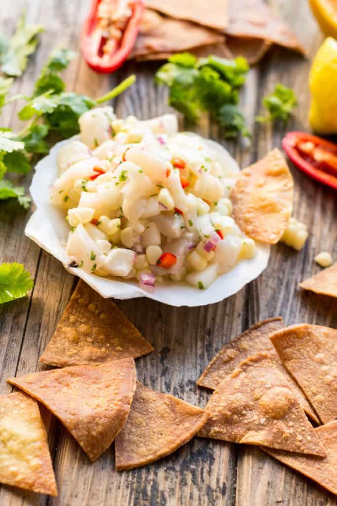 Scallop Ceviche with Corn + Cucumber
