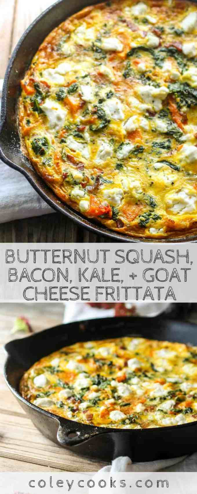 Butternut Squash, Bacon, Kale, + Goat Cheese Frittata   Easy frittata recipe with all the best Fall vegetables. Great for breakfast or brunch! #easy #fall #recipe #brunch #breakfast #eggs #frittata #kale #butternut   ColeyCooks.com