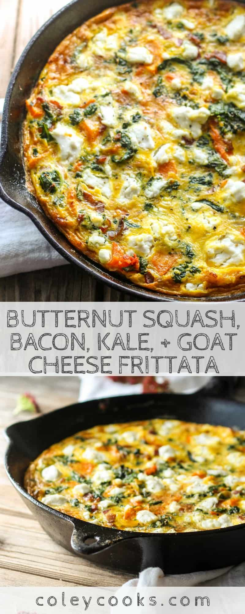 Butternut Squash, Bacon, Kale, + Goat Cheese Frittata | Easy frittata recipe with all the best Fall vegetables. Great for breakfast or brunch! #easy #fall #recipe #brunch #breakfast #eggs #frittata #kale #butternut | ColeyCooks.com