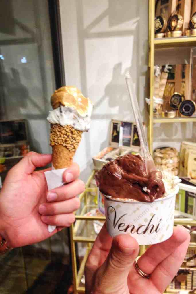 gelato from venchi, Bologna, Italy