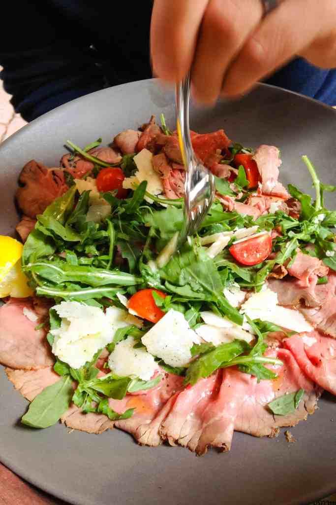 roast beef salad from la baita, Bologna, Italy