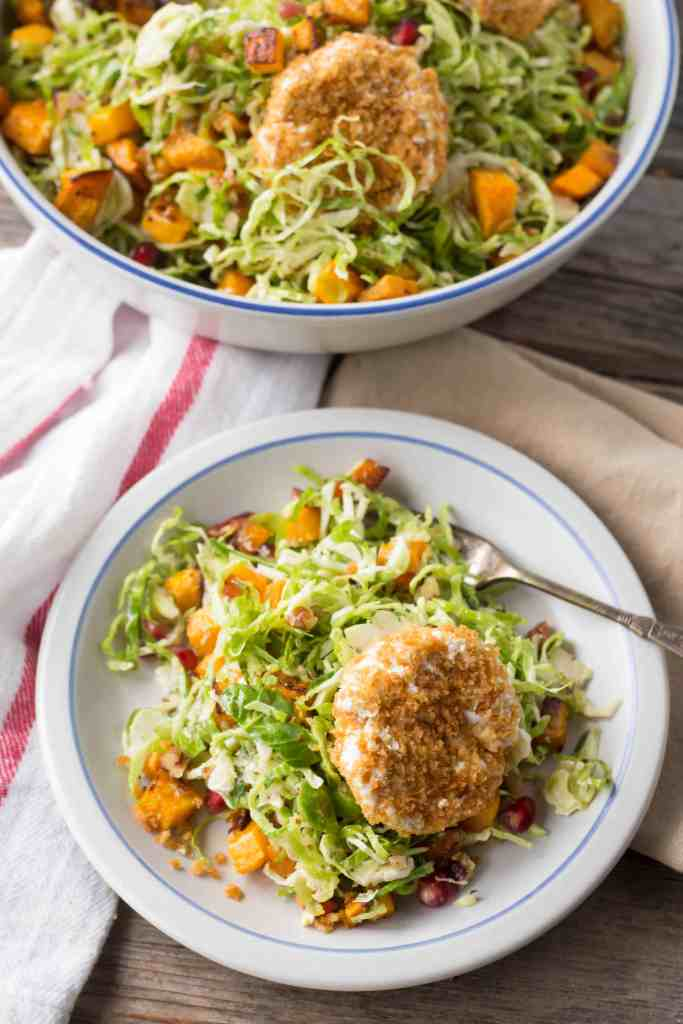 "Shaved Brussels Sprout Salad with Butternut Squash, Pomegranate + ""Fried"" Goat Cheese"