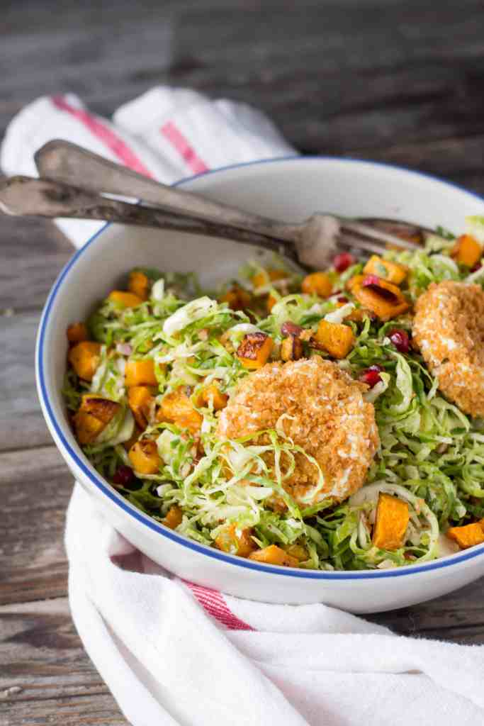"""Shaved Brussels Sprout Salad with Butternut Squash, Pomegranate + """"Fried"""" Goat Cheese"""