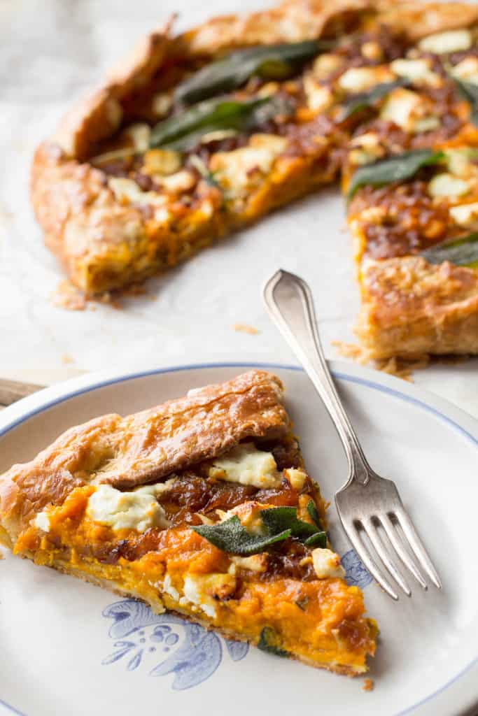Brown Butter Pumpkin Galette with Caramelized Onions, Goat Cheese + Sage