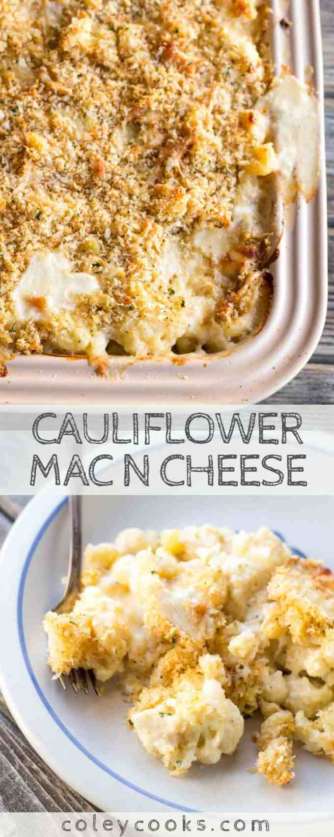 CAULIFLOWER MAC N CHEESE   Cauliflower replaces half of the pasta in this crazy good macaroni and cheese recipe. Great recipe for serving a crowd! #macaroni #cheese #cauliflower #Christmas #dinner #entertaining #party #recipe #easy   ColeyCooks.com
