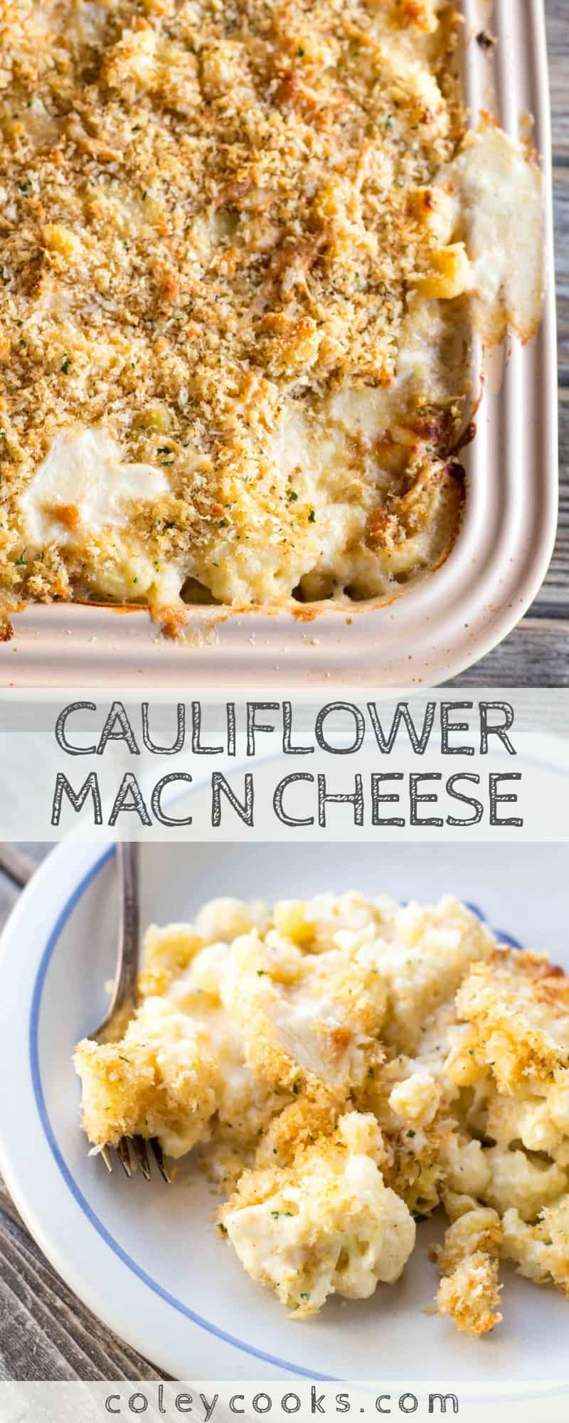 CAULIFLOWER MAC N CHEESE | Cauliflower replaces half of the pasta in this crazy good macaroni and cheese recipe. Great recipe for serving a crowd! #macaroni #cheese #cauliflower #Christmas #dinner #entertaining #party #recipe #easy | ColeyCooks.com