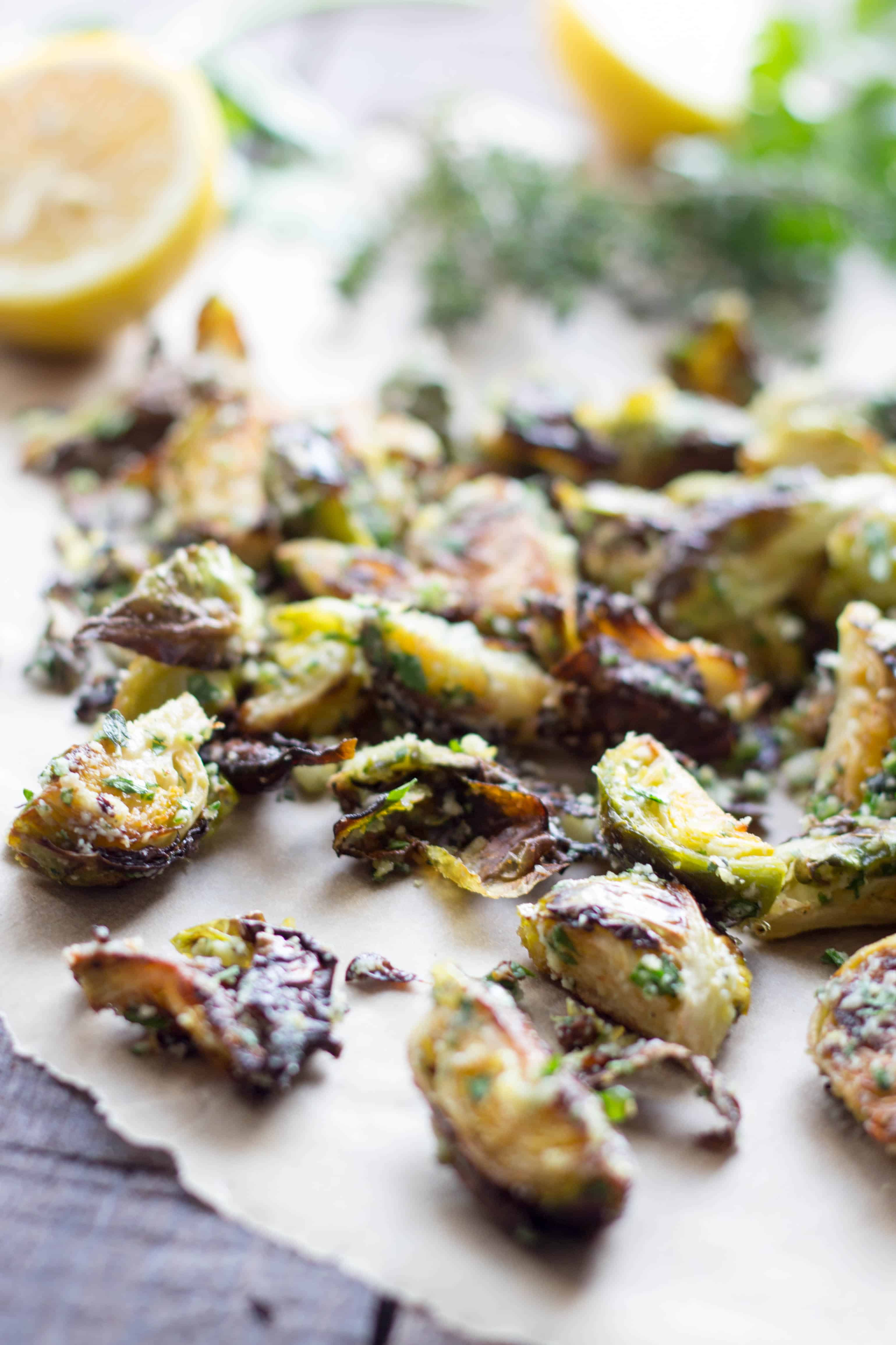 Crispy Brussels Sprouts with Herbs + Pecorino