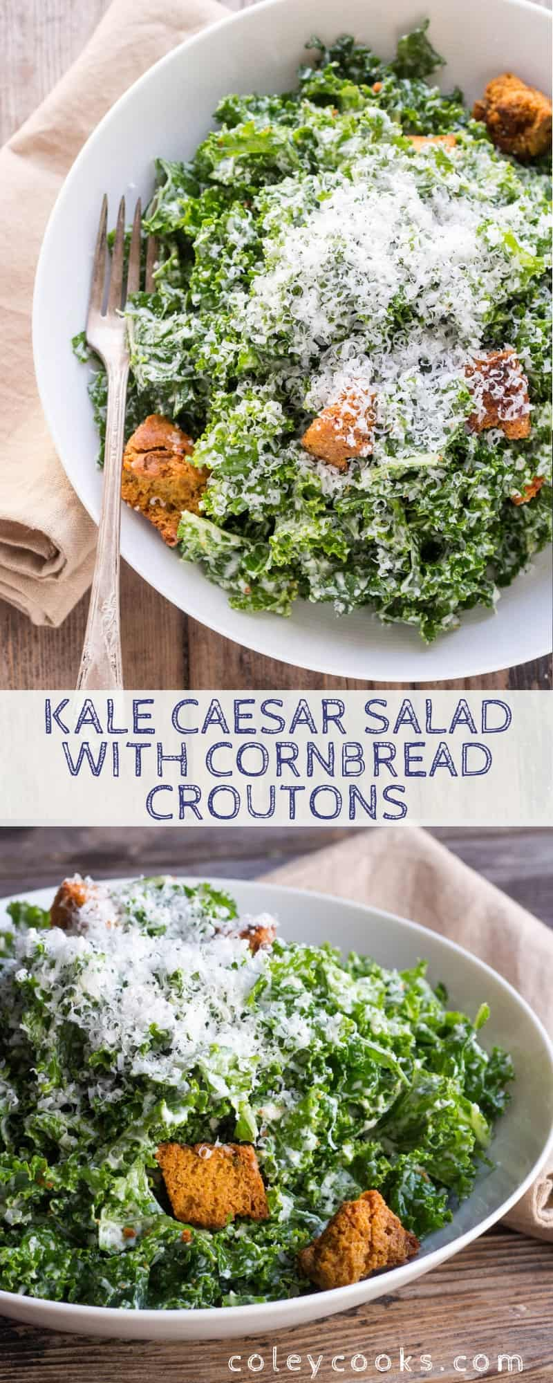 This easy recipe for Kale Caesar Salad is made with tender massaged kale and a traditional homemade Caesar dressing with anchovies. #easy #kale #massaged #caesar #salad #cornbread #croutons #anchovies #cheese #homemade  | ColeyCooks.com